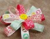Custom Loopy Puff Ribbon Hair Bow, Flower Loop Hair Bow, Puff Hair Bow, Loopy Hair Bow