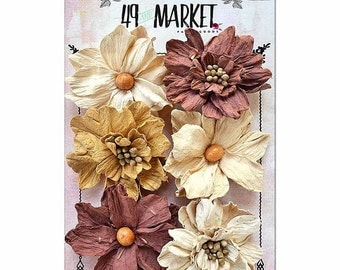 49 & Market Rustic Barn Medium Blooms - 49 And Market Rustic Barn Medium Blooms - Medium Flowers - Scrapbook Flowers - Embellishment Flowers
