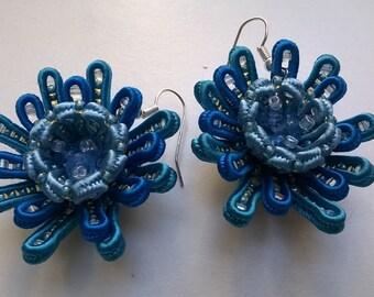 Soutache 3d flower earrings