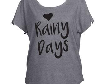 Love Rainy Days Rain  Drapey Shirt Tri-Blend Dolman Women's Yoga Workout Shirt Trendy Off Shoulder