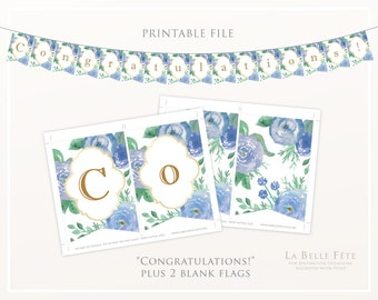 CONGRATULATIONS! bunting / banner DIY printable graduation party / baby shower blue + gold watercolor floral decoration