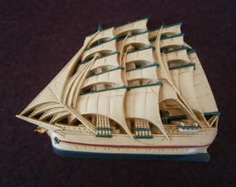 Ship Sailing Art 3 Mast Schooner Cutter Wall Hanging Burwood Plaque Dollar Days Sale
