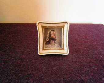 Jesus Christ Miniature Portrait Warner Sallman Small Picture Son of God Print Vintage Lithograph