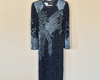 Stunning 80s Prom Dress / 80s Party Dress / Prom Dress / 90s Prom Dress / Black Party Dress / Beaded Dress
