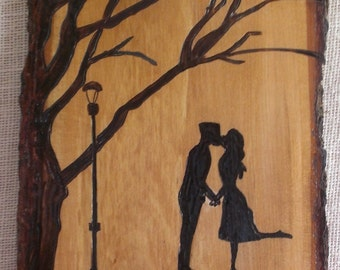 Rustic Wood Burning Plaque Of Couple Kissing - Pyrography Sign