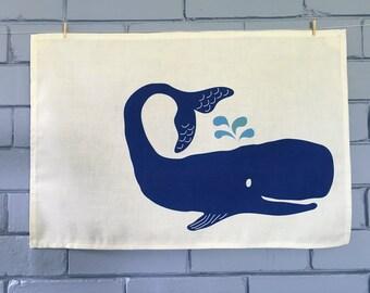 Ocean whale tea towel. Linen/cotton.