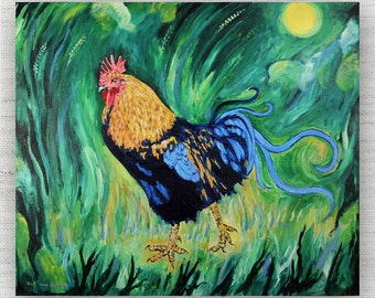 Rooster Painting Print Canvas Art from Rooster Fine Art Canvas Painting - Rooster Art Print
