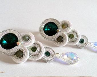 """""""Tears"""" soutache Emerald earrings"""