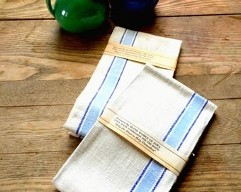 Vintage Linen Dish Towels; White with Blue Stripe