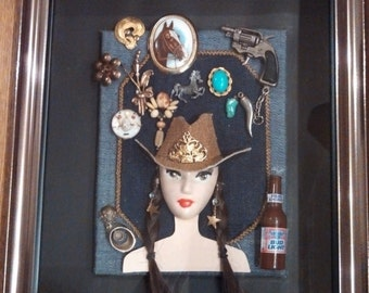 Cow Girl Shadowbox, Cowgirl, mixed media, jewelry, trinkets