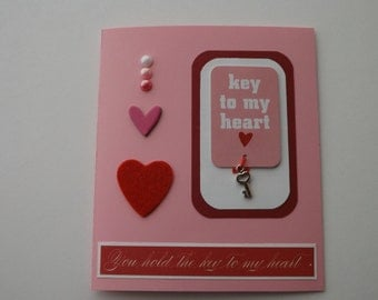 """Valentine's Day Card - 3D - """"Key to my heart"""""""