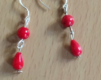 Handcrafted coral earrings