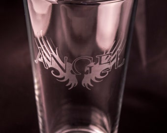 Angel Etched Drinking Glass Etched Pint Glass