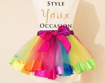 Rainbow tutu birthday tutu baby girls toddler party outfit skirt occasion cake smash photo prop party wear frilly high quality for all sizes