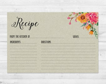 Recipe Cards, Bridal Shower, Printable, Rustic Recipe Card, Floral, Wedding