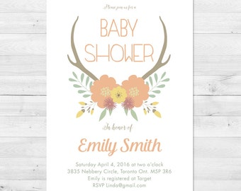 Baby Shower Invitation Girl, Fall Baby Shower Invitation, Floral Baby Shower Invitation, Rustic Baby Shower Invitation, Antler Baby Shower