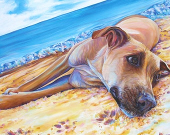 Dog on the Beach Unframed Giclee Art Print of original acrylic dog painting by Kate Green
