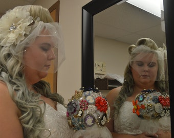 Illusion Birdcage veil with sparkle detail
