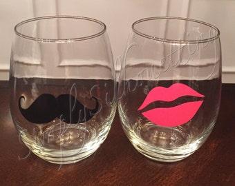 His & Hers Valentine Stemless Wine Glasses (Set of 2)