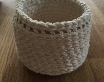 Round Crochet Basket, Cotton Basket, Small Storage Basket, Crochet Basket