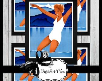 Greeting Card/Swim Suit/Cards/Cute/Art Deco/Swim Suit/Sunny/Swim/Swimming/Pool/Pool Party/Party/ Retro/DIY Printable Card/Vintage Collage