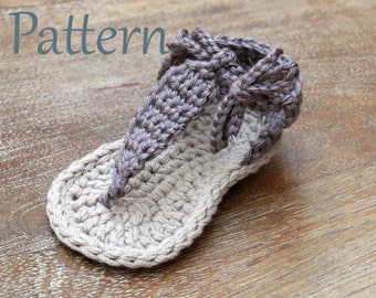 Crochet Sandals Pattern, Baby Gladiator Sandals Pattern in sizes Newborn, 0-3 mos, 3-6 mos, 6-12 mos and 12- 18 mos