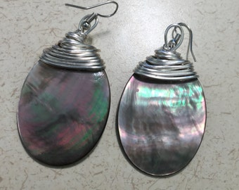 CLEARANCE - 40 mm x 30 mm Black mother of pearl earrings