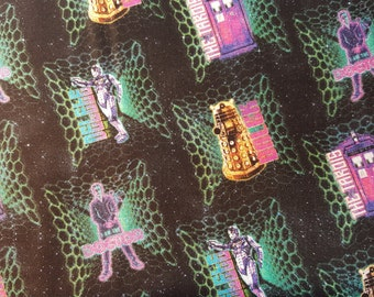 Neon Doctor Who Fabric, Yardage or Fat Quarter, Dr Who, Tardis, Dalek, Police Box, Robot, Black, Pink, Blue, BBC, FBTY, FQ, Quilting Fabric