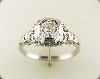 Vintage Antique Old Mine Cut Diamond Art Deco 18k White Gold Engagement Ring