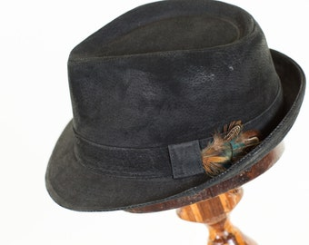 black leather trilby hat/mens fedora
