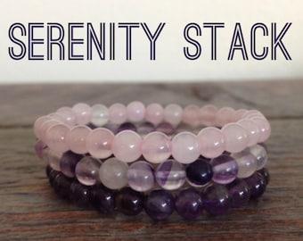 Serenity Stack, Amethyst, Rose Quartz, Purple Fluorite Bracelet, Bead Bracelet, Yoga Jewelry, Gemstone Bracelet, Love, Spirituality