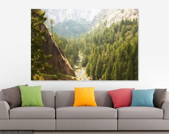 Yosemite Valley, green trees mountains