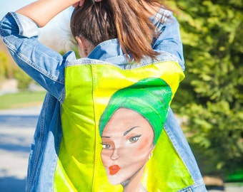 Denim Jacket with colourful paint
