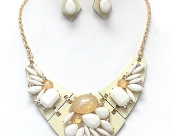 Multi stone mix bib necklace set