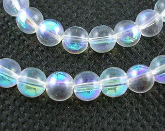 1 Strand AB Color Plated 6mm Round Glass Beads Clear (B44f)