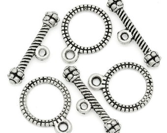 50 Sets Antique Silver Toggle Clasps 13 x 10mm (B7)
