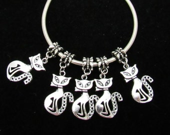 10 Antique Silver Cat Euro Style Charm Dangle Beads (B25)