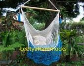 Turquiose and beige crochet pineapple chair hammock/Chair hammock with crochet/Chair swing/Sitting hammock/Mayan hammock/Gift for Mom/Decor