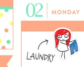 Laundry planner stickers, cleaning stickers, planner stickers, fold clothes, laundry reminder, MINI size, 32 stickers, PPC177