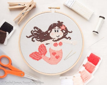 Mermaid Cross Stitch Pattern PDF | Bella the Pretty Coral Mermaid | Easy | Modern | Beginners Counted Cross Stitch | Instant Download
