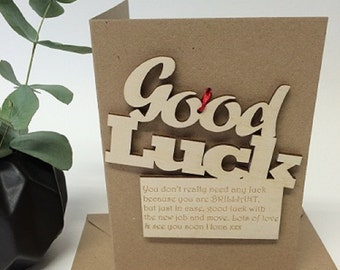 Good Luck Card - Personalised Good Luck Card - Good Luck Keepsake - Keepsake Card - Natural Wooden Card - Cards for Her - Cards for Him