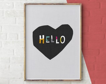 Hello Quote Print, Black and White Love Wall Art, Printable Love Quote Print, Hello Print, Typography Poster, Black & White Quote Wall Art