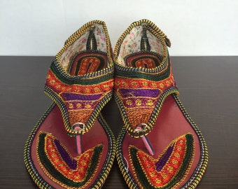 Hand Embroidered Rajasthani Sandals - Red/Green/Purple