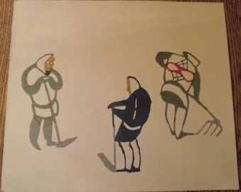 1967 Woodblock print by Inagaki Nenjiro known MIKUMO of THREE FARMERS, one with fork