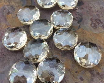 4 Round Disc Faceted Glass Crystal Beads, Clear, Pale Champagne,18mm