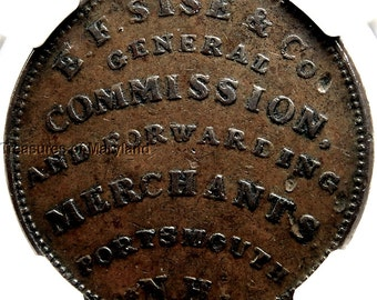 "NGC XF45 Certified 1837 ""PORTSMOUTH NH"" Hard Times Token sku #1016"