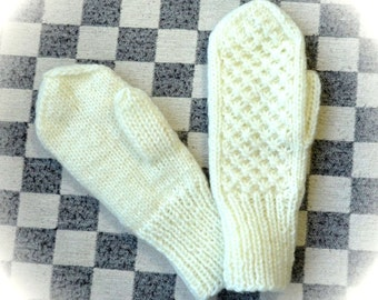 Warm knitted winter white Mittens for adults No. a-05