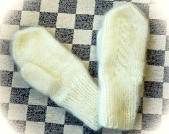 Warm knitted winter white Mittens for adults No. a-04