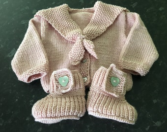 Hand knitted Baby Jacket with matching boots
