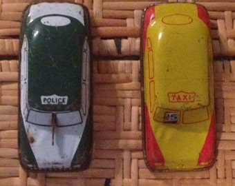 Two argo tin litho cars form 1950's